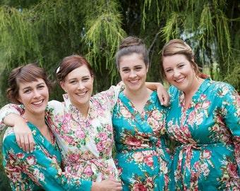 Set of  Bridesmaid robes, kimono crossover, bridesmaids gift, handmade, floral, bridal shower, wedding, bride.