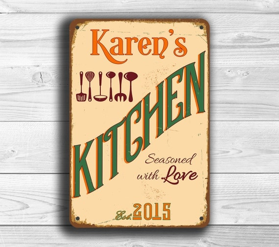 Custom Kitchen Sign Personalized Kitchen Sign Vintage Style