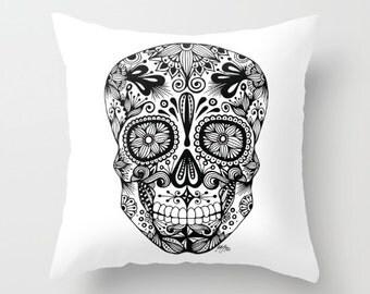Zentangle - Sugar Skull Pillow Case