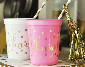 Gold CHEERS Party Cups (50ct) - Bachelorette Party Cups - Drinking Cups - Cheers Cups - Metallic Gold Gups (EB3104CH)