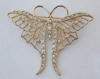 Large Vintage Gold Butterfly Pin Brooch with Rhinestones