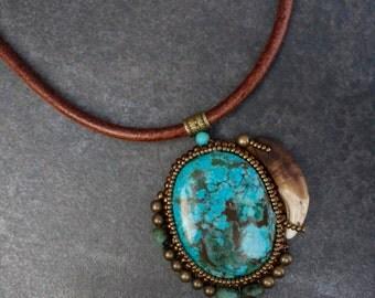 """Ethnic necklace stones of gemstones  """"Guyapi"""""""