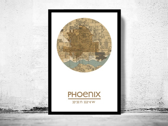 phoenix poster de la ville ville carte affiche. Black Bedroom Furniture Sets. Home Design Ideas