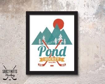 Retro Pond Hockey Poster Print
