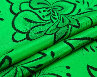 Silk crepe de chine fabric, green color, black floral, similar embroidery prints, sew for top, shirt, blouse, skirt,dress, craft by the yard