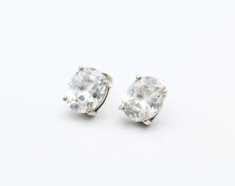 Elegant Sterling Silver and Oval CZ Stud Earrings. [6507]