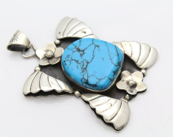 Big Mexican Turquoise and Sterling Silver Flower and Wings Pendant 23g. [7999]
