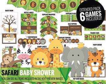 Safari Baby shower pack - All you need to decor your safari baby shower - Baby shower decor - Safari printables - PDF files.