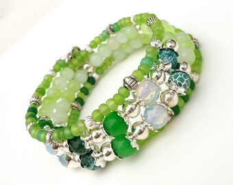 Light Green Bracelet, Beaded Cuff Bracelet, Light Green Memory Wire Cuff, Flower Charm