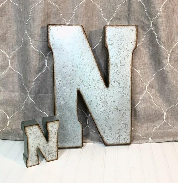 Galvanized Metal Initials Metal Lettersletter Nlarge Metal
