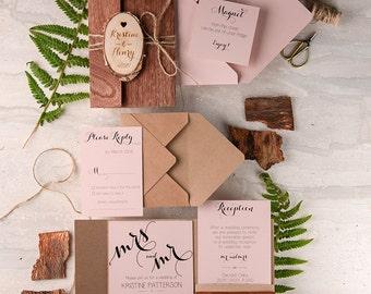 Rustic Wedding Invitation (20), Real Wood Cherry Invitation, Engraved Slice Invitation, Wooden Wedding Invites, Pink Rustic Invitation