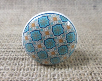 Moroccan style drawer knobs. Ceramic drawer knobs.