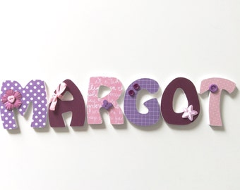 Wooden letters for bedroom and baby - themed Madmoizelle Bou