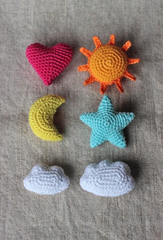 Star Heart Sun Moon Cloud Crochet Ornament Pattern Home