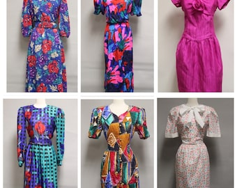 1980s Dress Lot / / / ALL Abstract Crazy Print Dresses!