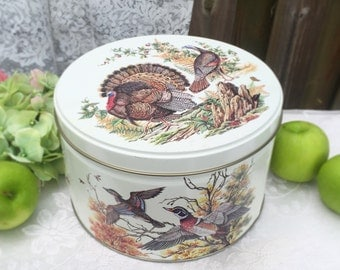 Large Decorative Tin, Turkey Quail Partridge, Tom Sturgis Canister, box, Thanksgiving decorations, Bird decor rustic round barrel, kitchen