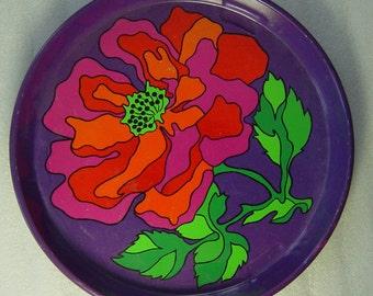 funky vintage 60s/70s Pop Art  Flower Power Era printed tin tray