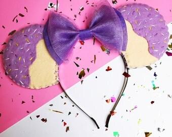 Lavender Sprinkles Cupcakes Minnie Mouse Ears Headband