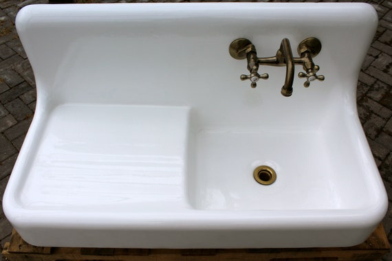 Refinished 1929 single drainboard single basin farm sink cast iron porcelain from readytore on - Cast iron sink weight ...