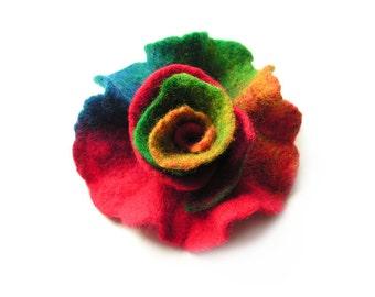 Felted flower brooch felt flower brooch multicolor flower felt wool floral brooch rainbow colorful merino wool brooch summer boho OOAK