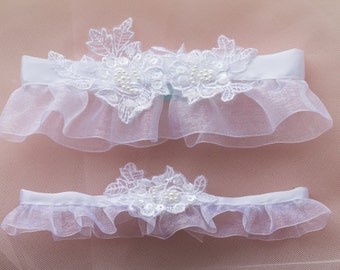 Lace Organza Sequin Bow Garter Set Ivory or White