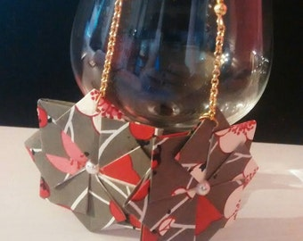 Origami earrings, Red and gray