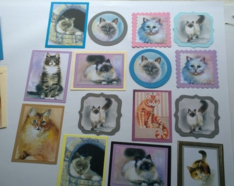19 Mixed Card Making Die cuts Cats layered Card Toppers Handmade