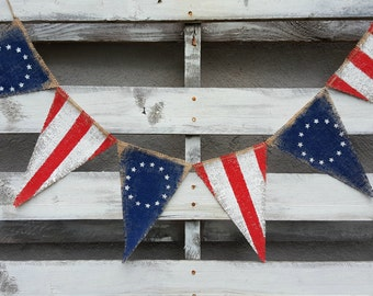 Old American Flag Burlap Banner, 4th of July Banner, Patriotic Banner, 13 Stars Flag Banner, Welcome Home Sign, Grungy Primitive USA