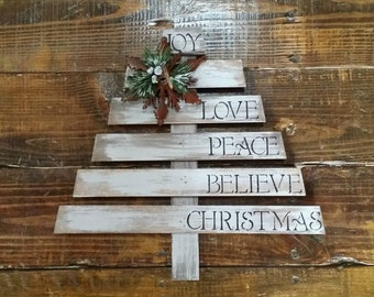 Rustic Wooden Christmas Tree, Hand Painted and Distressed Christmas Tree,  Rustic Winter Decor, Christmas Sign