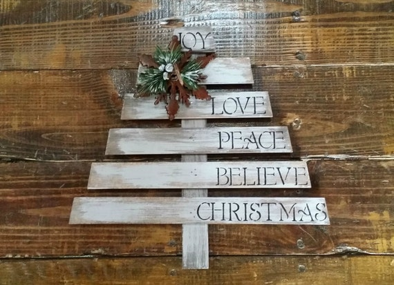 Rustic wooden christmas tree hand painted and distressed