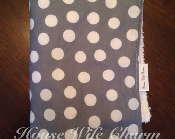 Gray White Dot burp cloth- Ready to Ship!