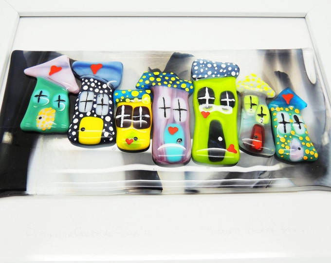 Fused glass wall art panel. 'Higgledy houses' display. Limited edition Home decor handmade. Birthday housewarming, wedding anniversary gifts