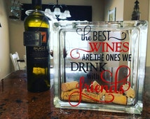 Wine cork storage, wine cork holder, glass block, wine cork shadow box, decorative glass block, wine decor, wine with friends, gift for her