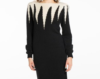 Black and White Spike Sweater Dress