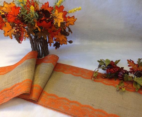 Rustic table runner burlap and burnt orange lace wedding - Chemin de table en toile de jute ...