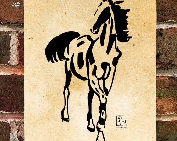 KillerBeeMoto: Limited Release Print of Xu Beihong Image Of A Horse Standing Ink Style Illustration 1 of 50