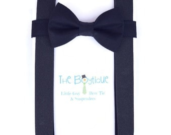 Navy Bow Tie and Suspenders: Navy Suspenders, Toddler Suspenders, Boys, Kids, Adults, Ring Bearer Gift, Page Boy Braces, Wedding Party