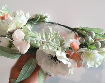 Anemone and Blush Flower Crown
