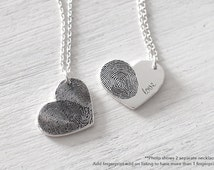 20% OFF Custom Actual Fingerprint Heart Necklace - Delicate Personalized Fingerprint Necklace For Her - Mother's Day Gifts - PN04.15