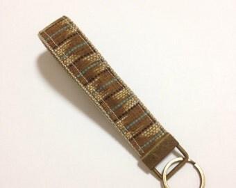 Wristlet Key Fob, Japanese key fob, brown Kasuri pattern Fabric Key Chain, for men, Japanese kimono pattern Fabric key fob,wristlet