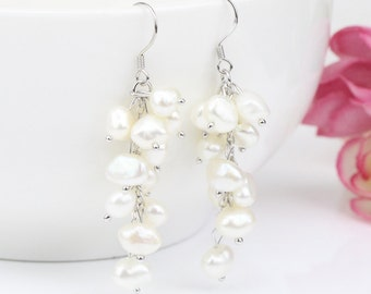 White color cluster pearl earrings,freshwater pearl cluster earrings,dangling pearl drop earrings,special pearl earrings,unique gifts