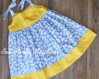 Girl's Dress - White Daisies on Blue with Yellow - Tie Shoulder Dress