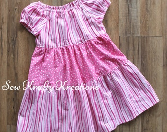 Girl's Dress - Pink Stripes/Dots - Tiered Dress