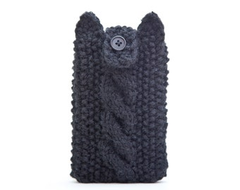 Cat iPhone X Case, iPhone 8 plus sleeve, Black iPhone Case, Knitted iPhone 6 case, iPod 6G, Mom Gift, samsung galaxy s7 edge case
