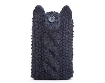 iPhone 6 plus sleeve, Black Cat iPhone Case, Knitted iPhone 6 case, iPod 6G iPhone SE iPod Touch 6, Mom Gift, samsung galaxy s7 edge case