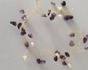 Bridal hair vine made with Amethyst, freshwater pearls