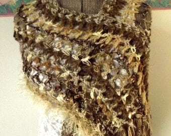 Crochet Shawl, Handmade Shawl, Crochet Scarf, Brown Tan Shawl, Boho Wrap, Soft, Fall, Fringe