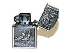 Ornate Sterling Zippo Lighter with Carved Figures of Animals, Gods, Goddesses, from Siam