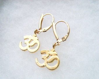 Ohm earrings in gold Ohm gold earrings 14k gold fill Aum earrings Gold filled earrings Yoga earrings Gold om earrings Om charm Yoga jewelry