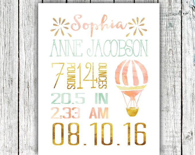 Birth Announcement Printable, Birth Stats, Baby Girl, Hot air balloon, Watercolor,  Customized Printable File  #07